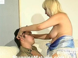 Nasty mamma giving orall-service to a guy and getting fucked in each which way